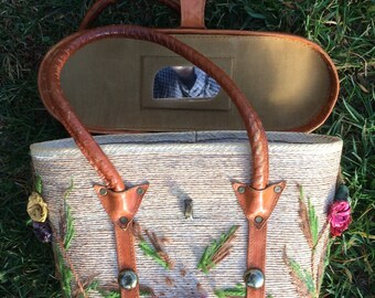 Sale! Vintage leather purse/ Lovely shoulder bag/ tote/french country/country cottage/actors guild/plays/flowers