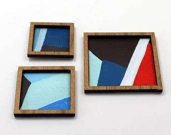 Set of 3 Miniature Artworks - Blue City Collection