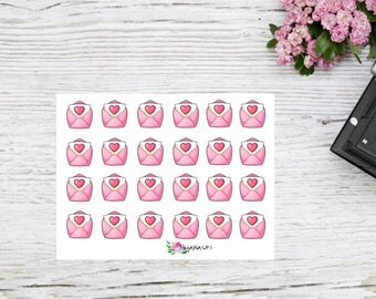 Happy mail planner stickers, valentines day letters love letters or snail mail