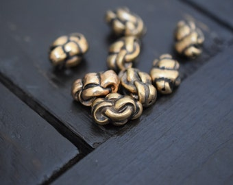 Antiqued Brass Metalized Knotted Knot Beads,8pcs