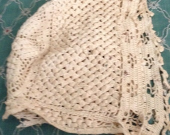 Antique Crocheted Baby Bonnet