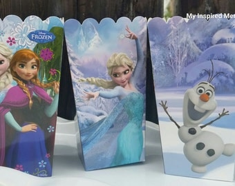 4-Frozen popcorn boxes, frozen snack boxes, Elsa popcorn box