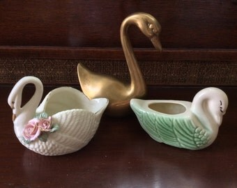 Lot of 3 Vintage Swans