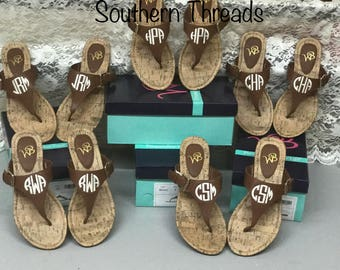 Monogrammed thong sandals