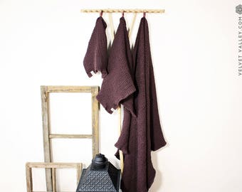 Linen burgundy red bath towel- linen waffle face, hand, body towel- gift set-red wine linen washcloth- puffy towel-beach-SPA towel