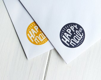 40 Happy Mail Stickers Happy Post Letter Small Envelope Seals 32mm / Stationery / 250