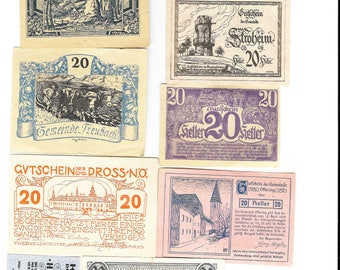 10 Different Old Austrian Banknotes Dating To The 1920 period. (Notgeld). Superb Condition.