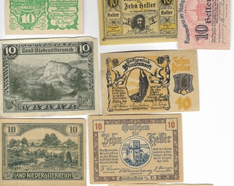 10 Different Old Austrian Banknotes Dating To The 1920 period. (Notgeld). Superb Condition. Lot No 3