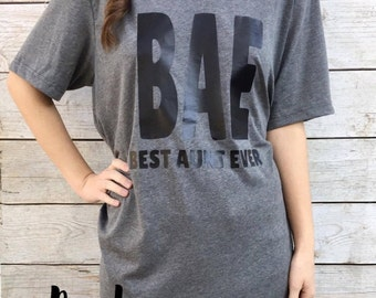 BAE Best Aunt Ever Vneck, Family First, Important, Vneck, Small-2XL, Graphic Tee