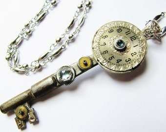 Steampunk Antique Key with Vintage Watch Dial Pendant Necklace, Antique Key Necklace, Steampunk Necklace, KP18