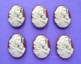 6 Christian Religious Ivory Color on Burgandy Brown 25mm x 18mm MOTHER Holding CHILD or MADONNA Baby Jesus Cameos Lot for Costume Jewelry