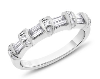 0.70 Ct. Natural Diamond Baguette Round Wedding Band 14k White Gold