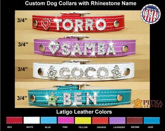 Personalized  Rhinestone Dog Collars - Custom Leather Collars for Medium Dogs - Custom Dog Collars with Bling Letters - Unique Dog Collars