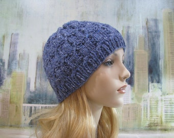 Women's Hand Knitted Hat, 'Shona-II', Blue Wool Tweed Yarn, Ski Hat, Cabled Hat, Winter Hat, Beanie Hat