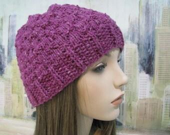 Women's Knitted Hat, Winter Hat, Slouchy Beanie, Purple Hat, 'Lorelei-III', Wool Hat, Hand Knit Hat