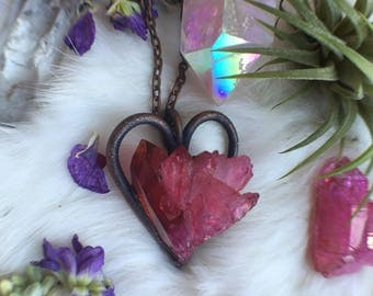 Ruby aura copper heart neacklace