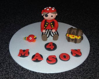 Edible Handmade PIRATE birthday celebration cake topper PERSONALISED