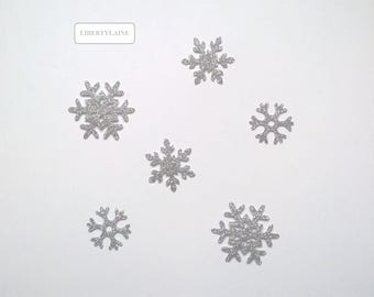 Applied fusing paillet Silver set of 6 snowflakes in flex