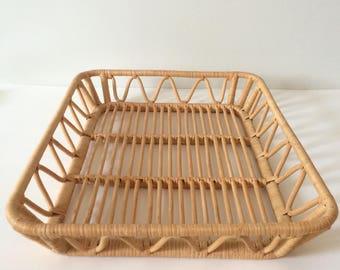 vintage natural rattan tray