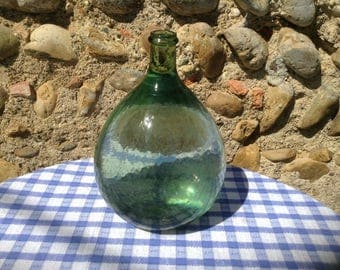 BEAUTY, Vintage French, Glass Demi-John, Hand Blown Green Glass, Wine Bottle, Marie-Jeanne. Beautiful Condition..