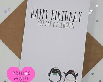 Happy Birthday card husband wife girlfriend boyfriend penguin lesbian gay lgbt