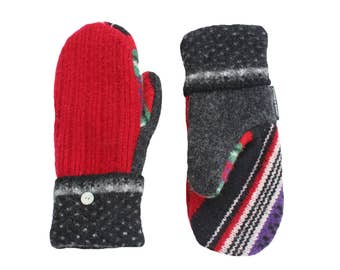 Red and Black Wool Mittens, Sweater Mittens, Women's mittens, Made in Wisconsin Sweaty Mitts Ecofriendly Green Purple Stripes