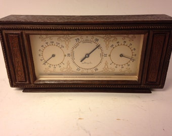 Vintage Airguide Wood Console Weather Station