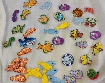 Wholesale bulk lot   42pcs fish   crab  turtle snail embroidered iron on patch  2-3cm