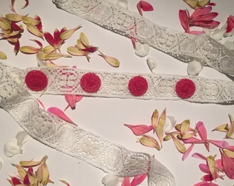 Pink and white lace flower headband
