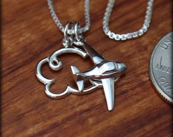 Sterling silver airplane necklace,  Travelers necklace, Graduation necklace. Pilot necklace, Flight attendant
