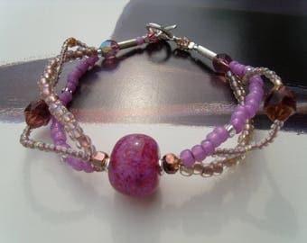 Lavender LAMPWORK Glass bracelet bead Toho seed Beads