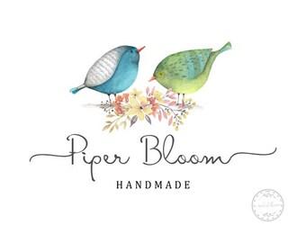 Premade Logo Birds Kids Logo Floral Wreath Watercolor Modern Custom Shop Logo Business Card Branding Design Wedding Signs LD039