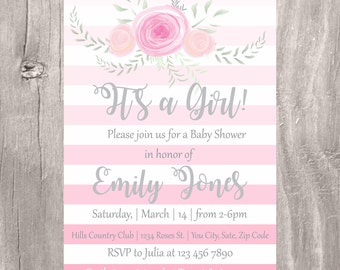 Baby Shower Invitation, Floral Watercolor Pink Stripes Girl Baby Shower Invite, Printable Its a Girl Floral Baby Shower Invitation