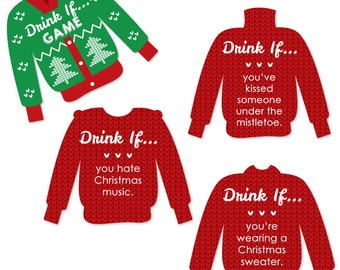 Drink If Ugly Sweater - Christmas Party Game - 24 Party Game Cards