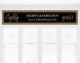 Chic 80th Birthday – Black and Gold Party Banner - Birthday Party Decorations