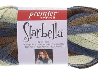 "Starbella Yarn, 1 Skein, Color 15-62, ""Stone Moss"", Blue, Brown, Green,  Premier Yarns, 100% Acrylic"