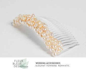 pearl hair comb | bridal hair comb | pearl headpiece | wedding hair comb | apricot wedding comb |  apricot comb