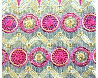 George Silk Fabric /Fabric For Sewing / Fabric For Wedding Dresses/ West African inspired Fabric/Silk George Lace Blue, Fuchsia Pink & Gold