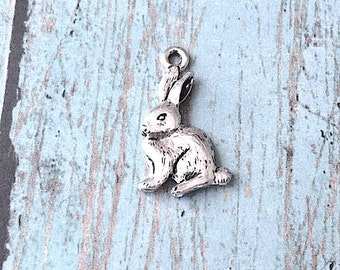 Rabbit charm (2 sided) pewter (1 pc) - silver rabbit pendant, animal charm, rabbit charm, Easter charm, forest charm, bunny pendant, ZZ6