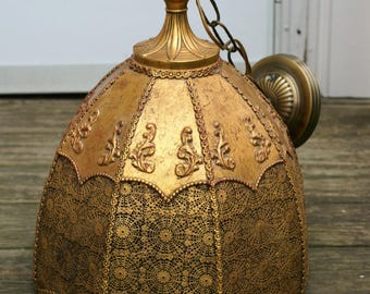 Magnificent Antique Brass Moroccan Hanging Pendant Light