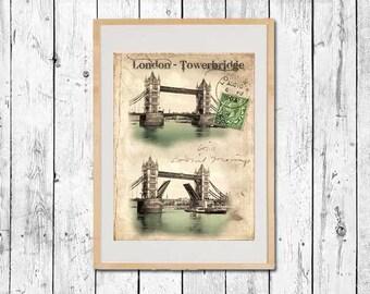Fine Art Print London - London Tower Bridge Vintage Travel Poster OldFashion retro Postcard Tourist Poster England 1900 British picture