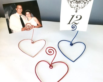 Name Card Holder with Heart Base-Set of 15, Wedding Favor, Wire Card/Photo Holder, Rustic Wedding, Wedding Table, Decoration, Place Setting