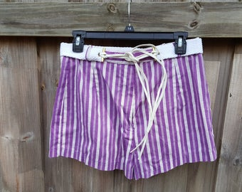 1970's Hippie Boho Purple Stripped Hot Pant Shorts