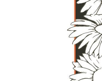 Digital download, Daisies! Printable notebook paper, letterhead, scrapbook paper