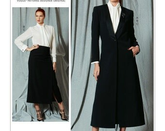 Vogue Sewing Pattern V1527 Misses' Single-Button Jacket, Tie-Collar Blouse and Calf-Length Skirt