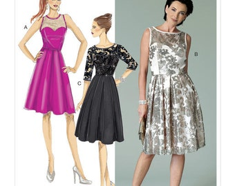 Butterick Sewing Pattern B6415 Misses' Sweetheart-Neckline, Pleated-Skirt Dresses