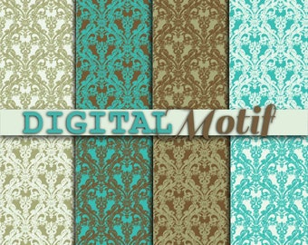 Damask Digital Paper Pack in Brown and Turquoise, Instant download, Damask Decoupage Paper, Digital Background, Scrapbooking - DM220
