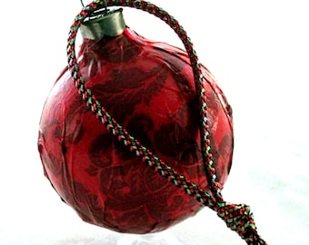 Fabric covered glass ornament EBC0008