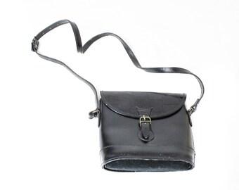 Leather handbag, Black Cross body bag, Messanger bag, Vintage sachel bag, Leather shoulder bag, Real leather bag, Vintage Black handbag