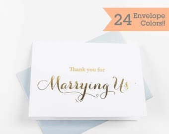 Gold Foiled Wedding Day Cards, Thank You for Marrying Us, Silver Foiled Wedding Day Cards, Wedding Day Thank You Card (WC175-CA-F)